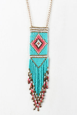 Diamond Beaded Fringe Pendant Necklace - Beauty & Bronze Clothing and Accessories