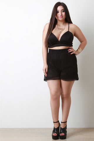 High Waist Mesh Double Layer Shorts - Beauty & Bronze Clothing and Accessories