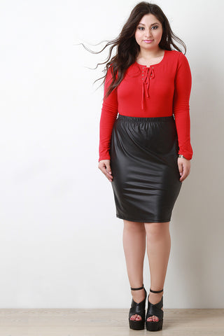 Vegan Leather Pencil Cut Zip-Up Skirt - Beauty & Bronze Clothing and Accessories