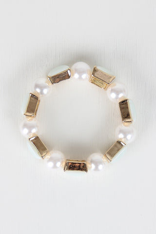 Faux Pearl And Square Bracelet - Beauty & Bronze Clothing and Accessories
