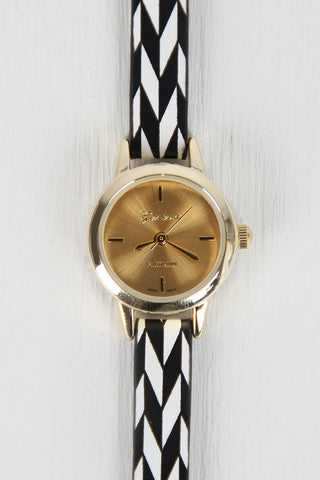 Herringbone Chevron Skinny Watch - Beauty & Bronze Clothing and Accessories