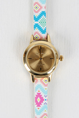 Aztec Pattern Skinny Watch - Beauty & Bronze Clothing and Accessories
