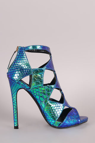 Liliana Snake Hologram Cutout Peep Toe Stiletto Heel - Beauty & Bronze Clothing and Accessories