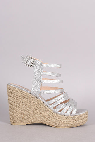 Qupid Snake Strappy Espadrille Platform Wedge - Beauty & Bronze Clothing and Accessories