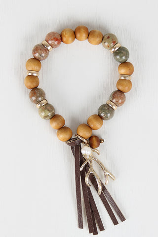 Antler Charm Beaded Bracelet - Beauty & Bronze Clothing and Accessories