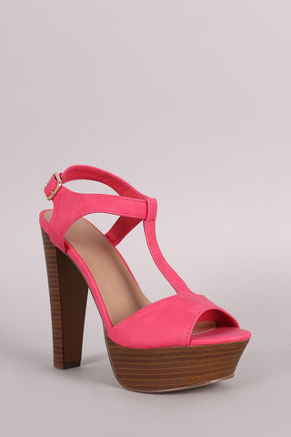 Breckelle T-Strap Platform Chunky Heel - Beauty & Bronze Clothing and Accessories