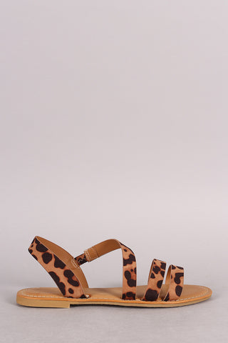 Bamboo Leopard Strappy Asymmetrical Flat Sandal - Beauty & Bronze Clothing and Accessories