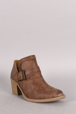 Qupid Buckled Cowgirl Chunky Heeled Booties - Beauty & Bronze Clothing and Accessories