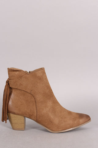 Qupid Suede Fringe Pointy Toe Chunky Heeled Booties - Beauty & Bronze Clothing and Accessories