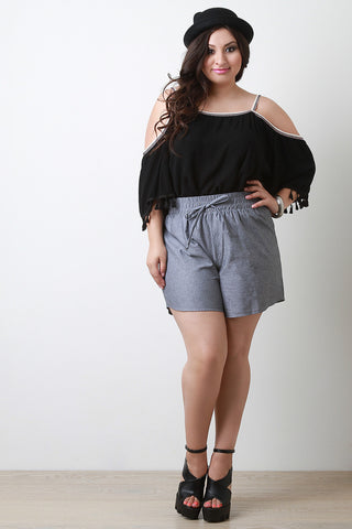 High Waist Chambray Shorts - Beauty & Bronze Clothing and Accessories