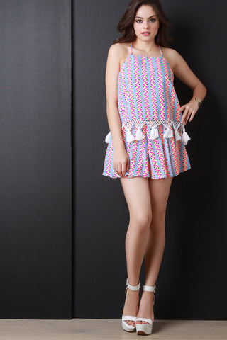 Neon Zigzag High Waist Pleated Shorts - Beauty & Bronze Clothing and Accessories