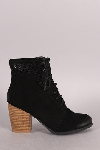 Qupid Spring Perforated Combat Booties - Beauty & Bronze Clothing and Accessories