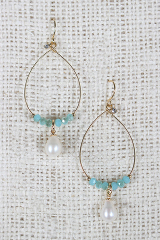 Stones And Pearl Dangle Earrings - Beauty & Bronze Clothing and Accessories