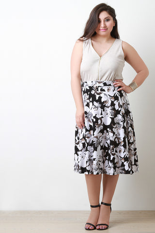 Floral Print Flow Midi Skirt - Beauty & Bronze Clothing and Accessories