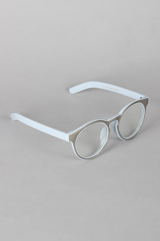 Horn Rimmed Metallic Accent Glasses - Beauty & Bronze Clothing and Accessories