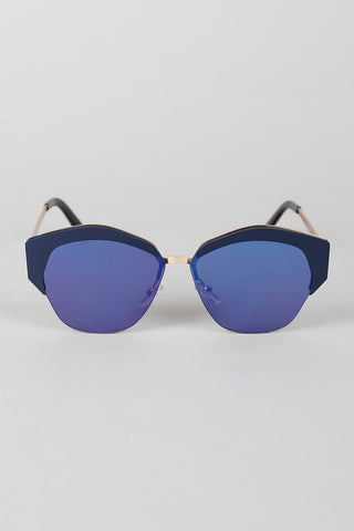 Geometric Semi-Rimless Sunglasses - Beauty & Bronze Clothing and Accessories
