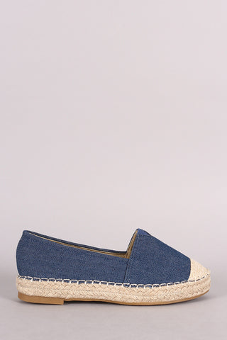 Denim Braided Espadrille Slip On Loafer Flat - Beauty & Bronze Clothing and Accessories