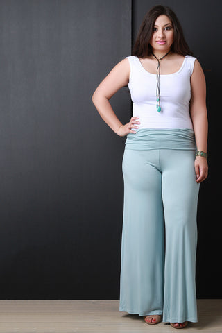 Wide Leg Knit Palazzo Pants - Beauty & Bronze Clothing and Accessories