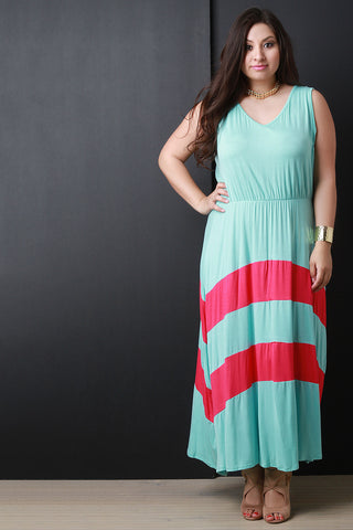 Jersey Knit Striped V-Neck Sleeveless Maxi Dress - Beauty & Bronze Clothing and Accessories