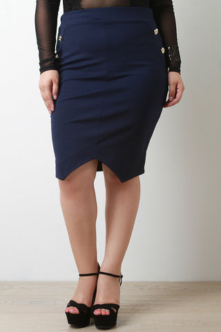 Elasticized Waist Anchor Button Pencil Skirt - Beauty & Bronze Clothing and Accessories