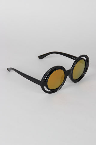Bugs Eye Cutout Round Sunglasses - Beauty & Bronze Clothing and Accessories