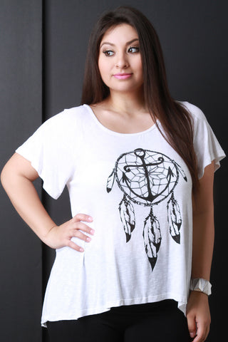 Anchor Dreamcatcher Graphic Print Tee - Beauty & Bronze Clothing and Accessories