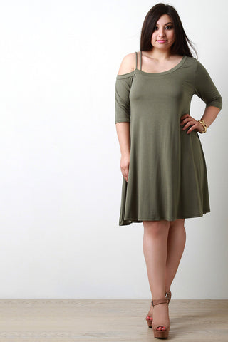 Asymmetrical Cold Shoulder Shift Dress - Beauty & Bronze Clothing and Accessories