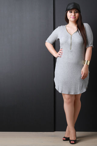Adjustable Zip Neckline Thermal Knit Dress - Beauty & Bronze Clothing and Accessories