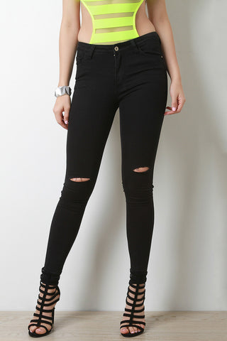 Knee Slit Raw Hem Jeans - Beauty & Bronze Clothing and Accessories