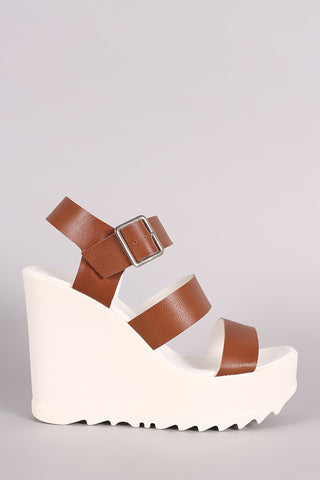Wild Diva Lounge Triple Band Lug Sole Platform Wedge - Beauty & Bronze Clothing and Accessories