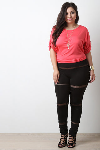 Mesh Panel Leggings - Beauty & Bronze Clothing and Accessories