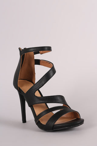 Anne Michelle Strappy Slanted Peep Toe Stiletto Heel - Beauty & Bronze Clothing and Accessories