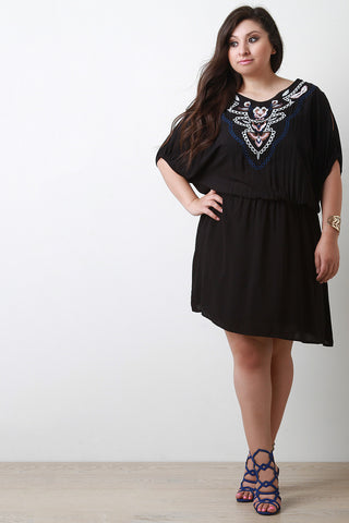 Embroidered Back-Tie Cold Shoulder Midi Dress - Beauty & Bronze Clothing and Accessories
