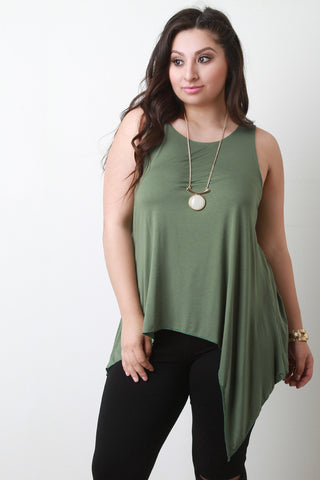 Asymmetrical Hem Sleeveless Top - Beauty & Bronze Clothing and Accessories
