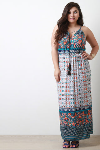 Patterned Print Cinched Waist Sleeveless Maxi Dress - Beauty & Bronze Clothing and Accessories
