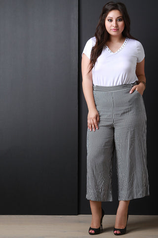 High Waisted Stripe Wide Leg Crop Pants - Beauty & Bronze Clothing and Accessories