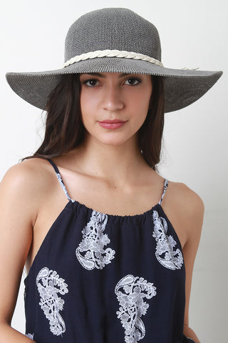 Braided Tie Straw Summer Hat - Beauty & Bronze Clothing and Accessories
