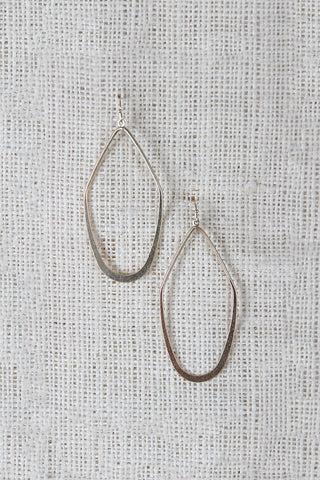 Flattened Angular Tear Drop Shaped Dangle Earrings - Beauty & Bronze Clothing and Accessories