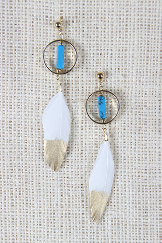 Sacred Ibis Feather Drop Earrings - Beauty & Bronze Clothing and Accessories