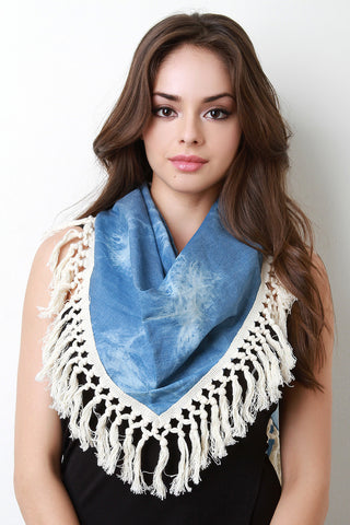 Acid Wash Chambray Tassel Trim Scarf - Beauty & Bronze Clothing and Accessories