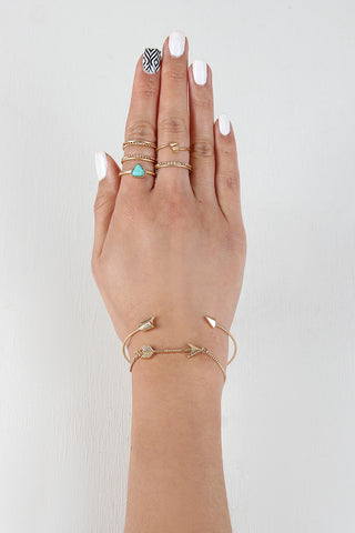 Delicate Arrow Bracelet And Ring Set - Beauty & Bronze Clothing and Accessories