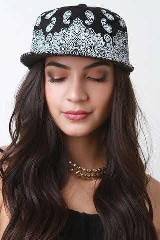 Paisley Contrast Snapback Cap - Beauty & Bronze Clothing and Accessories