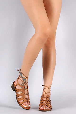 Bamboo Ghillie Lace Up Chunky Heel - Beauty & Bronze Clothing and Accessories