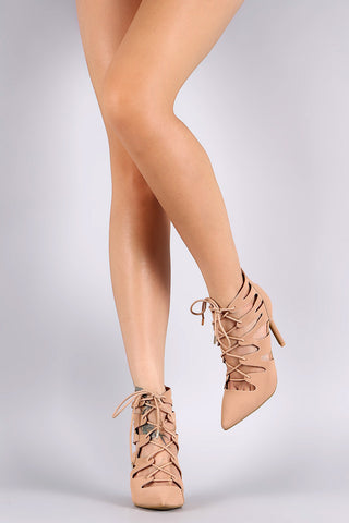 Anne Michelle Pointy Toe Cutout Lace Up Pump - Beauty & Bronze Clothing and Accessories