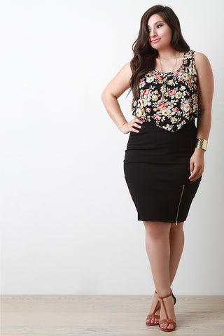 Zipper Trim Pencil Skirt - Beauty & Bronze Clothing and Accessories