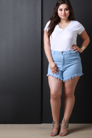 High Waisted Frayed Hem Denim Shorts - Beauty & Bronze Clothing and Accessories
