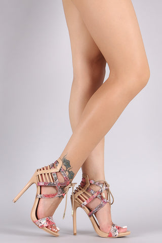 Snake Caged Ankle Cuff Lace-Up Stiletto Heel - Beauty & Bronze Clothing and Accessories