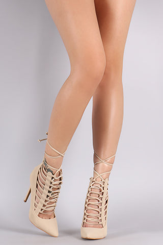 Shoe Republic LA Pointy Toe Caged Lace-Up Pump - Beauty & Bronze Clothing and Accessories