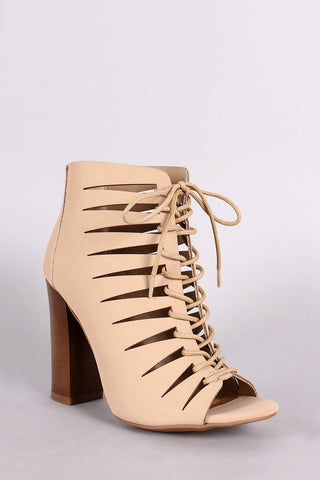 Bamboo Nubuck Peep Toe Lace-Up Cutout Booties - Beauty & Bronze Clothing and Accessories