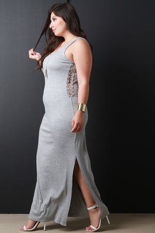 Lace Inset Side Slit Tank Maxi Dress - Beauty & Bronze Clothing and Accessories